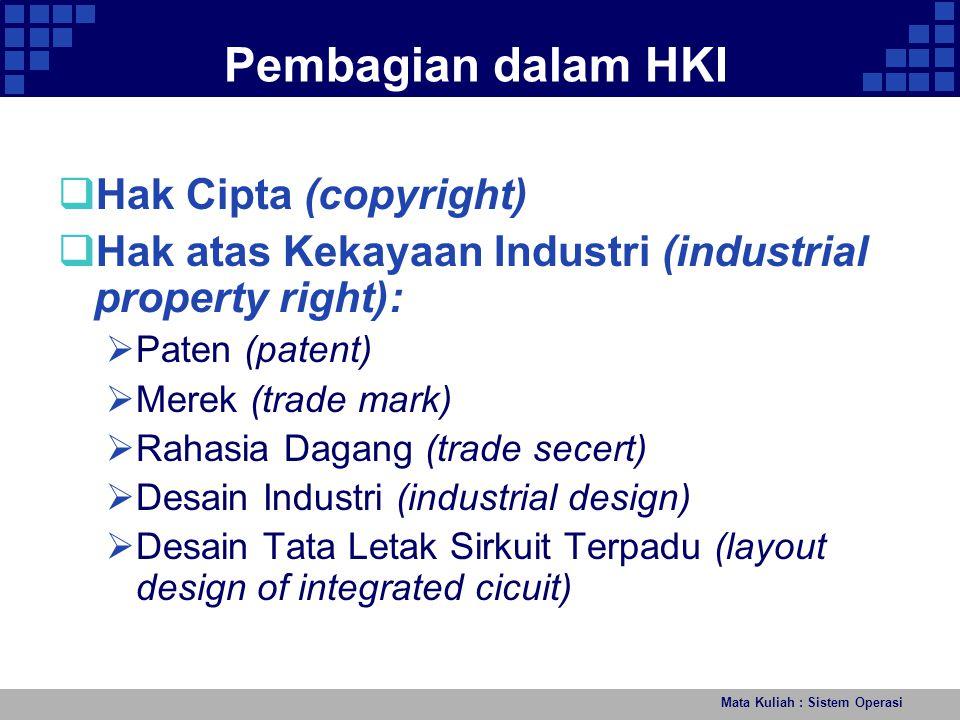 Mata Kuliah : Sistem Operasi Peraturan Perundang-undangan HKI Indonesia  UU No.