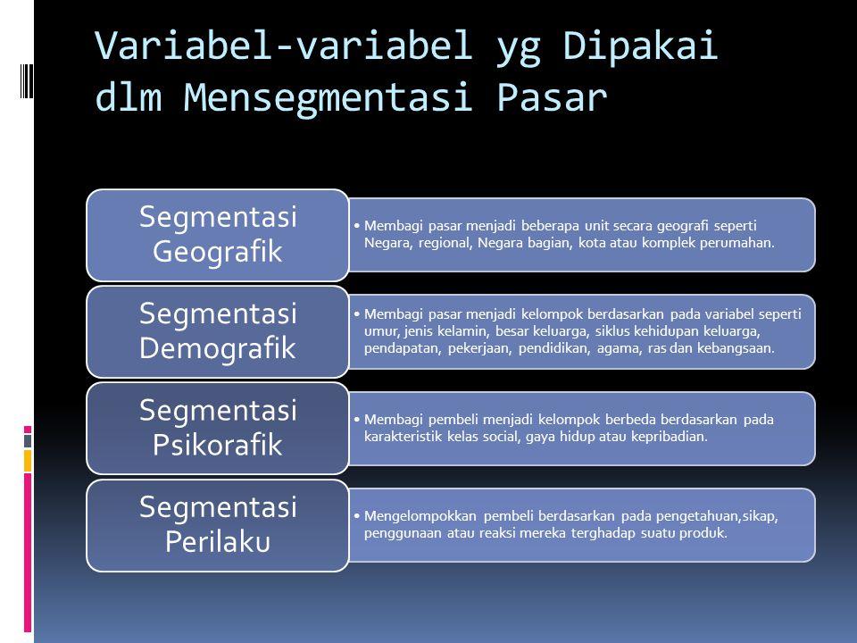 Segmentasi  Segmentasi pasar adalah membagi pasar menjadi kelompok pembeli yang dibedakan menurut kebutuhan, karakteristik, atau tingkah laku yang mungkin membutuhkan produk yang berbeda (lupiyoai, 2001, 34).