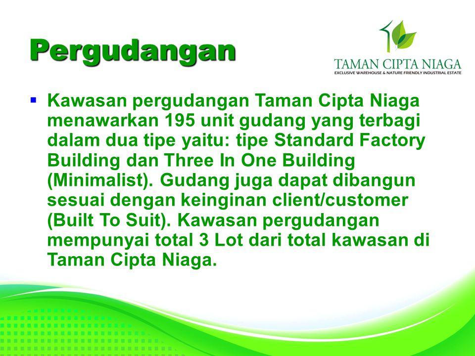  Kawasan pergudangan Taman Cipta Niaga menawarkan 195 unit gudang yang terbagi dalam dua tipe yaitu: tipe Standard Factory Building dan Three In One Building (Minimalist).