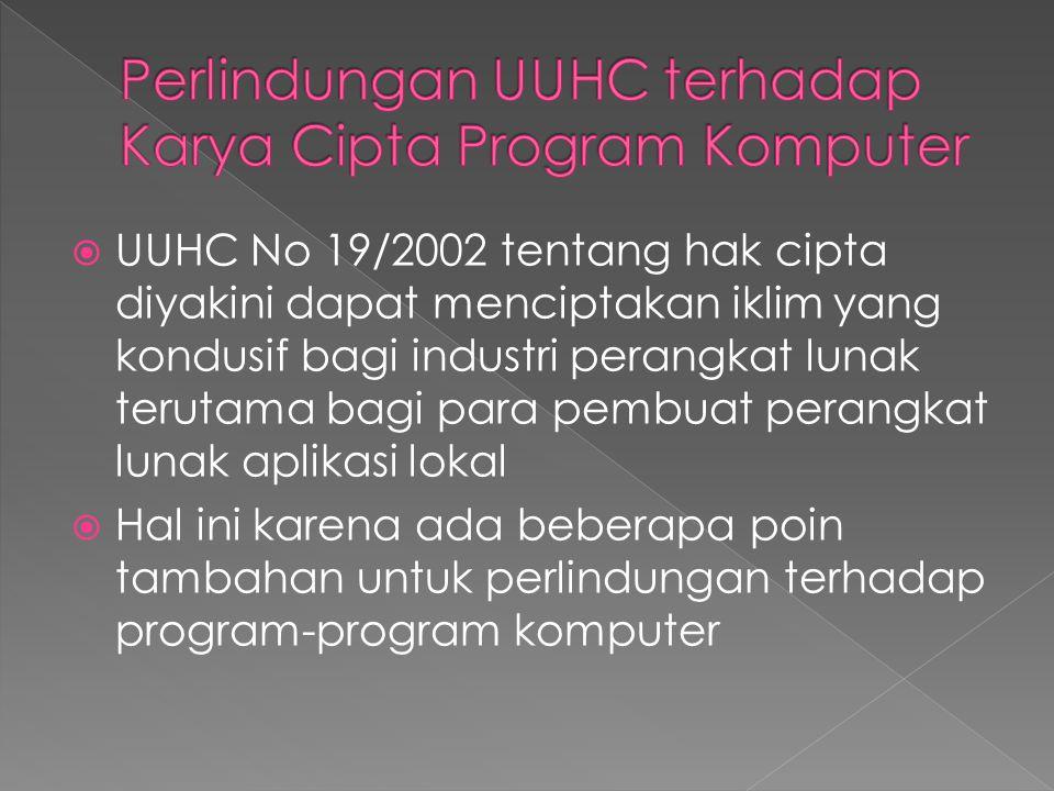  UUHC No 19/2002 tentang hak cipta diyakini dapat menciptakan iklim yang kondusif bagi industri perangkat lunak terutama bagi para pembuat perangkat