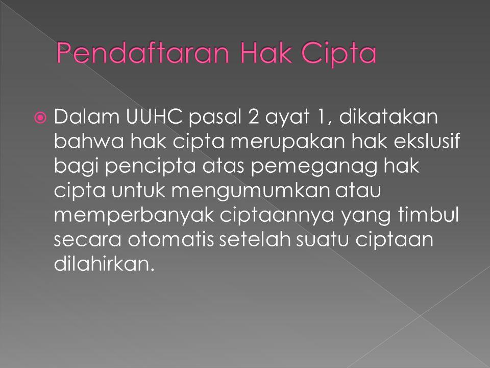  Dalam UUHC pasal 2 ayat 1, dikatakan bahwa hak cipta merupakan hak ekslusif bagi pencipta atas pemeganag hak cipta untuk mengumumkan atau memperbany
