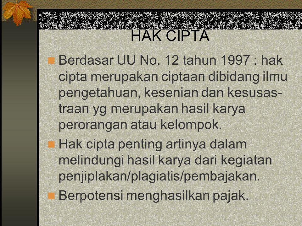HAK CIPTA Berdasar UU No. 12 tahun 1997 : hak cipta merupakan ciptaan dibidang ilmu pengetahuan, kesenian dan kesusas- traan yg merupakan hasil karya