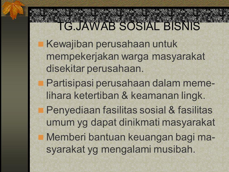 TG.JAWAB SOSIAL BISNIS Kewajiban perusahaan untuk mempekerjakan warga masyarakat disekitar perusahaan. Partisipasi perusahaan dalam meme- lihara keter