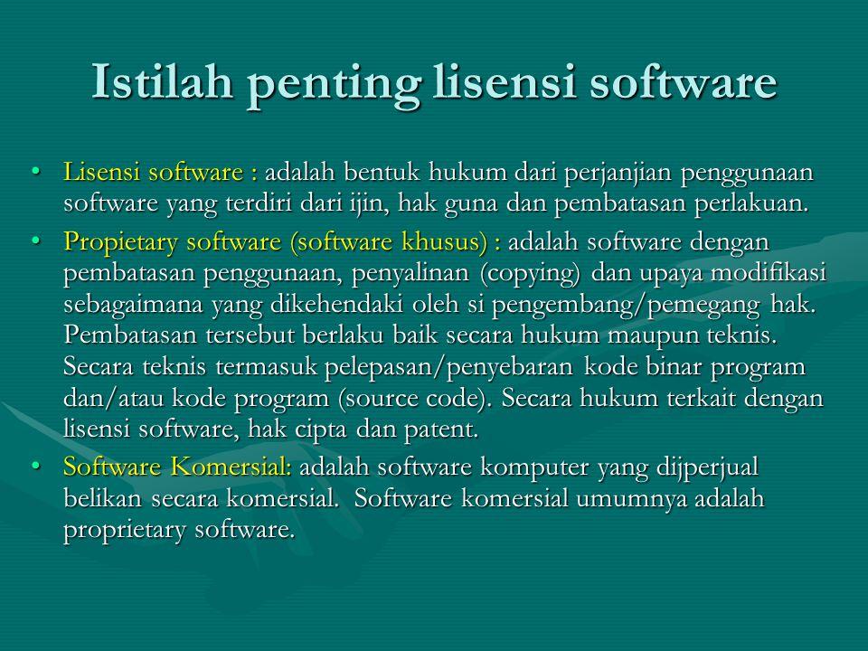 Istilah penting lisensi software Lisensi software : adalah bentuk hukum dari perjanjian penggunaan software yang terdiri dari ijin, hak guna dan pembatasan perlakuan.Lisensi software : adalah bentuk hukum dari perjanjian penggunaan software yang terdiri dari ijin, hak guna dan pembatasan perlakuan.
