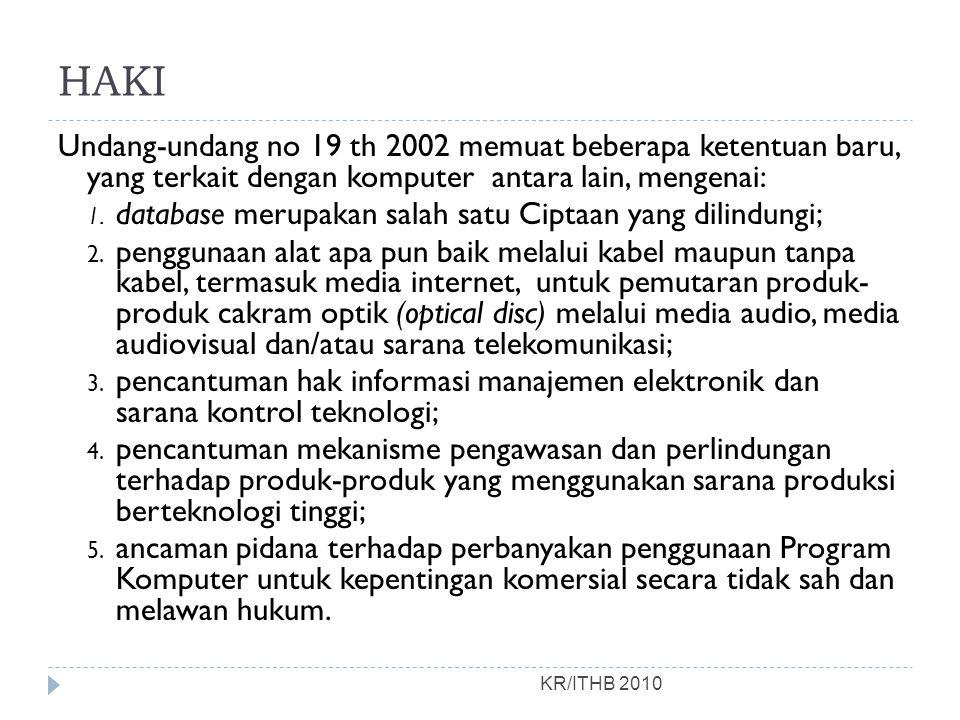 HAKI KR/ITHB 2010 Undang-undang no 19 th 2002 memuat beberapa ketentuan baru, yang terkait dengan komputer antara lain, mengenai: 1.