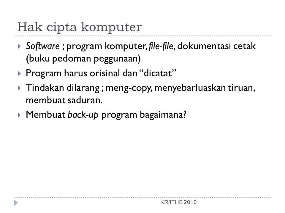 Hak cipta komputer KR/ITHB 2010  Software ; program komputer, file-file, dokumentasi cetak (buku pedoman peggunaan)  Program harus orisinal dan dicatat  Tindakan dilarang ; meng-copy, menyebarluaskan tiruan, membuat saduran.
