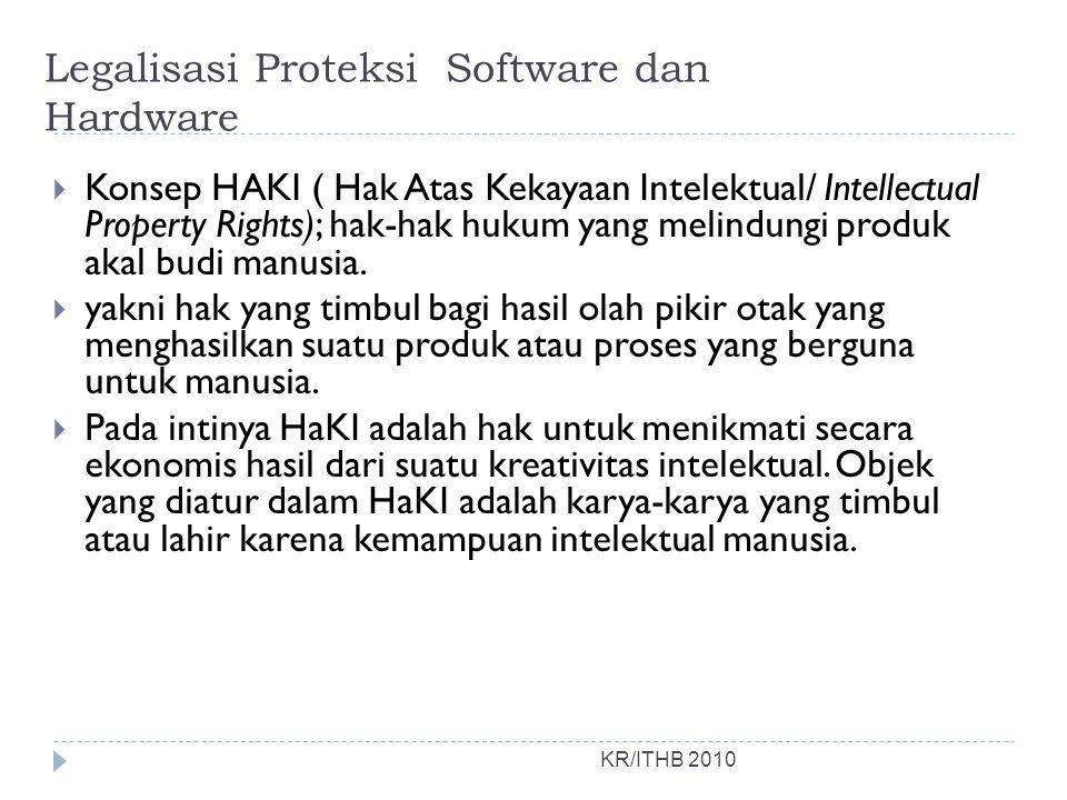 Legalisasi Proteksi Software dan Hardware KR/ITHB 2010  Konsep HAKI ( Hak Atas Kekayaan Intelektual/ Intellectual Property Rights); hak-hak hukum yang melindungi produk akal budi manusia.