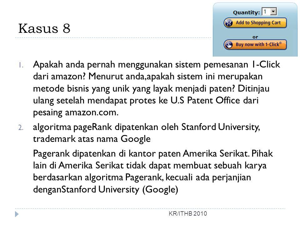Kasus 8 1.Apakah anda pernah menggunakan sistem pemesanan 1-Click dari amazon.