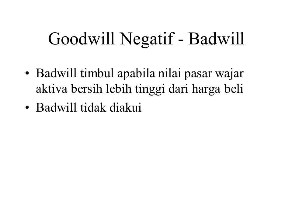 Goodwill Negatif - Badwill Badwill timbul apabila nilai pasar wajar aktiva bersih lebih tinggi dari harga beli Badwill tidak diakui
