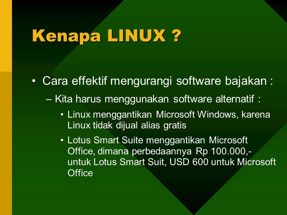 Cara effektif mengurangi software bajakan : –Kita harus menggunakan software alternatif : Linux menggantikan Microsoft Windows, karena Linux tidak dij