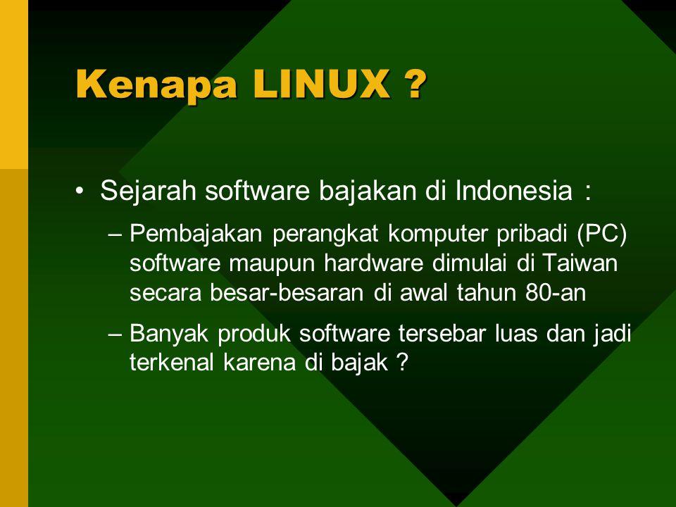 Sejarah software bajakan di Indonesia : –Pembajakan perangkat komputer pribadi (PC) software maupun hardware dimulai di Taiwan secara besar-besaran di awal tahun 80-an –Banyak produk software tersebar luas dan jadi terkenal karena di bajak .