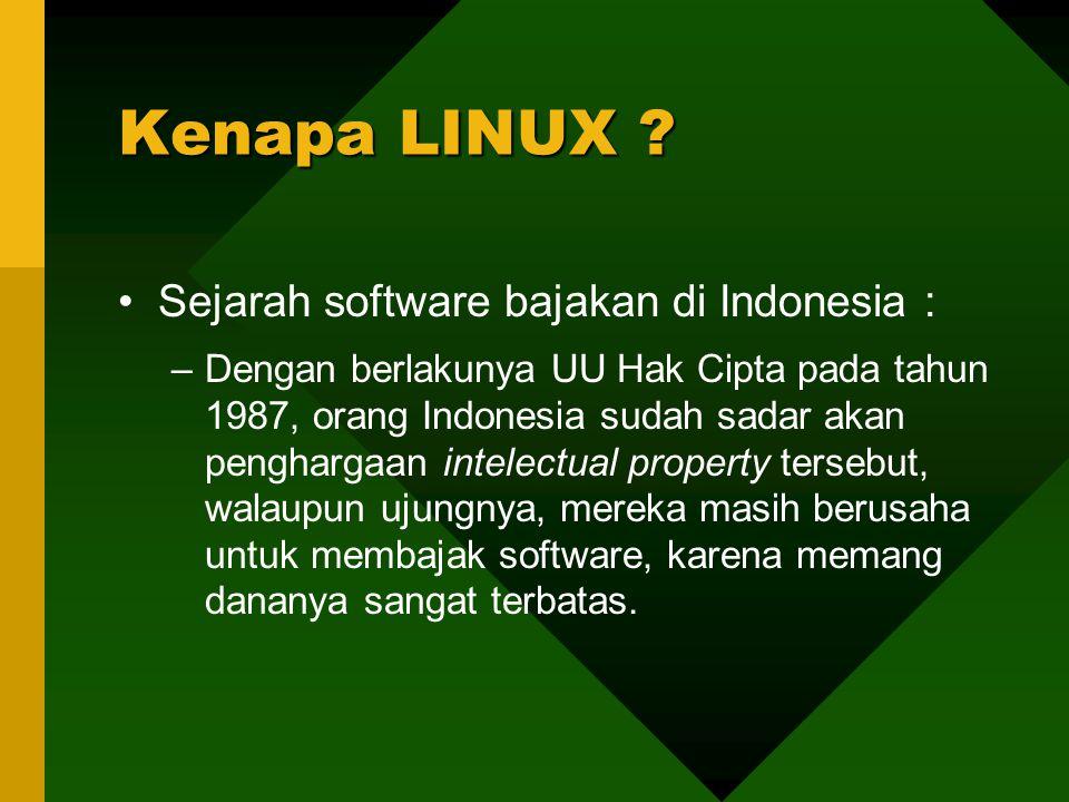Sejarah software bajakan di Indonesia : –Dengan berlakunya UU Hak Cipta pada tahun 1987, orang Indonesia sudah sadar akan penghargaan intelectual property tersebut, walaupun ujungnya, mereka masih berusaha untuk membajak software, karena memang dananya sangat terbatas.