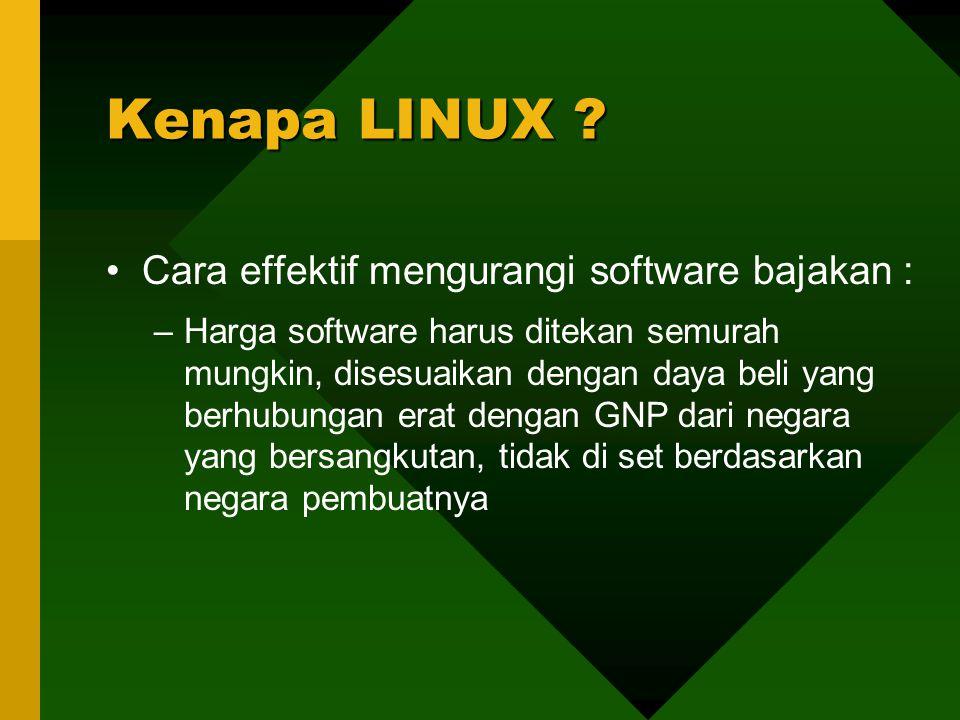 Cara effektif mengurangi software bajakan : –Harga software harus ditekan semurah mungkin, disesuaikan dengan daya beli yang berhubungan erat dengan GNP dari negara yang bersangkutan, tidak di set berdasarkan negara pembuatnya Kenapa LINUX