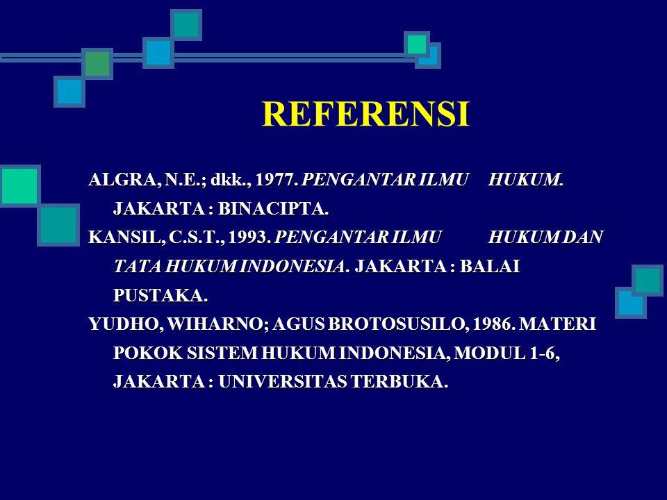 REFERENSI ALGRA, N.E.; dkk., 1977. PENGANTAR ILMU HUKUM. JAKARTA : BINACIPTA. KANSIL, C.S.T., 1993. PENGANTAR ILMU HUKUM DAN TATA HUKUM INDONESIA. JAK