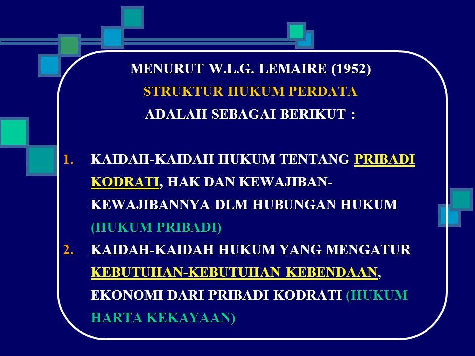 MENURUT W.L.G. LEMAIRE (1952) STRUKTUR HUKUM PERDATA ADALAH SEBAGAI BERIKUT :  KAIDAH-KAIDAH HUKUM TENTANG PRIBADI KODRATI, HAK DAN KEWAJIBAN- KEWAJ
