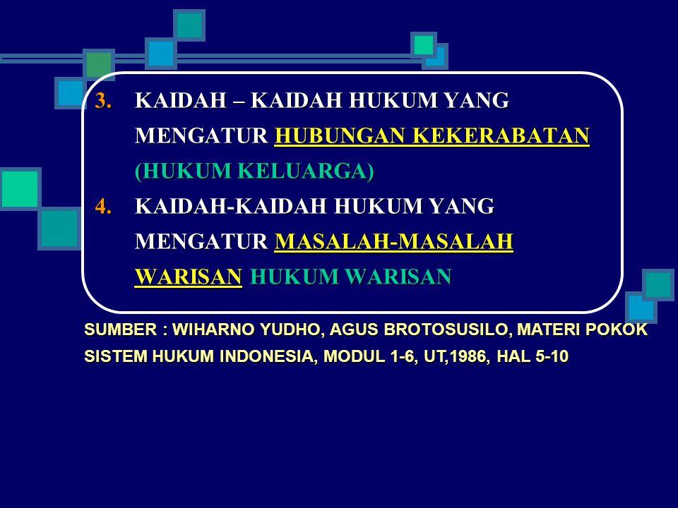  KAIDAH – KAIDAH HUKUM YANG MENGATUR HUBUNGAN KEKERABATAN (HUKUM KELUARGA)  KAIDAH-KAIDAH HUKUM YANG MENGATUR MASALAH-MASALAH WARISAN HUKUM WARISA