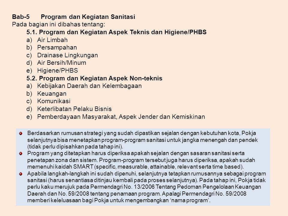 Bab-5Program dan Kegiatan Sanitasi Pada bagian ini dibahas tentang: 5.1. Program dan Kegiatan Aspek Teknis dan Higiene/PHBS a)Air Limbah b)Persampahan