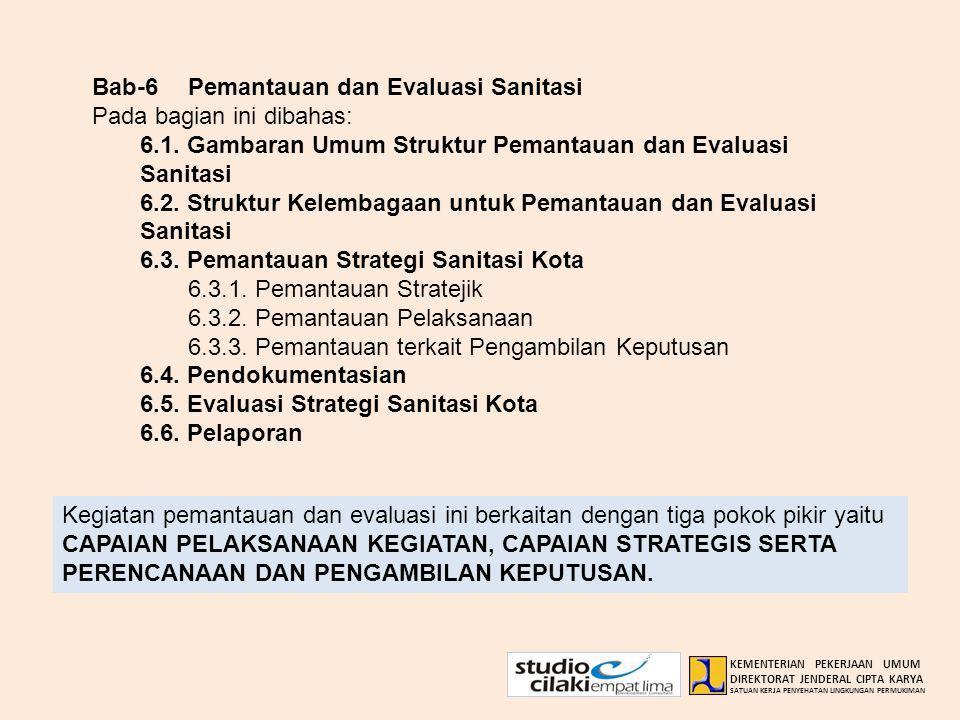 Bab-6Pemantauan dan Evaluasi Sanitasi Pada bagian ini dibahas: 6.1. Gambaran Umum Struktur Pemantauan dan Evaluasi Sanitasi 6.2. Struktur Kelembagaan