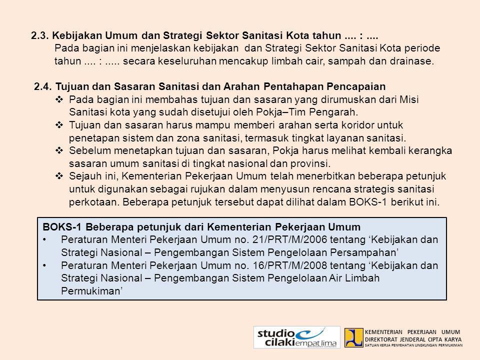 2.3. Kebijakan Umum dan Strategi Sektor Sanitasi Kota tahun.... :.... Pada bagian ini menjelaskan kebijakan dan Strategi Sektor Sanitasi Kota periode