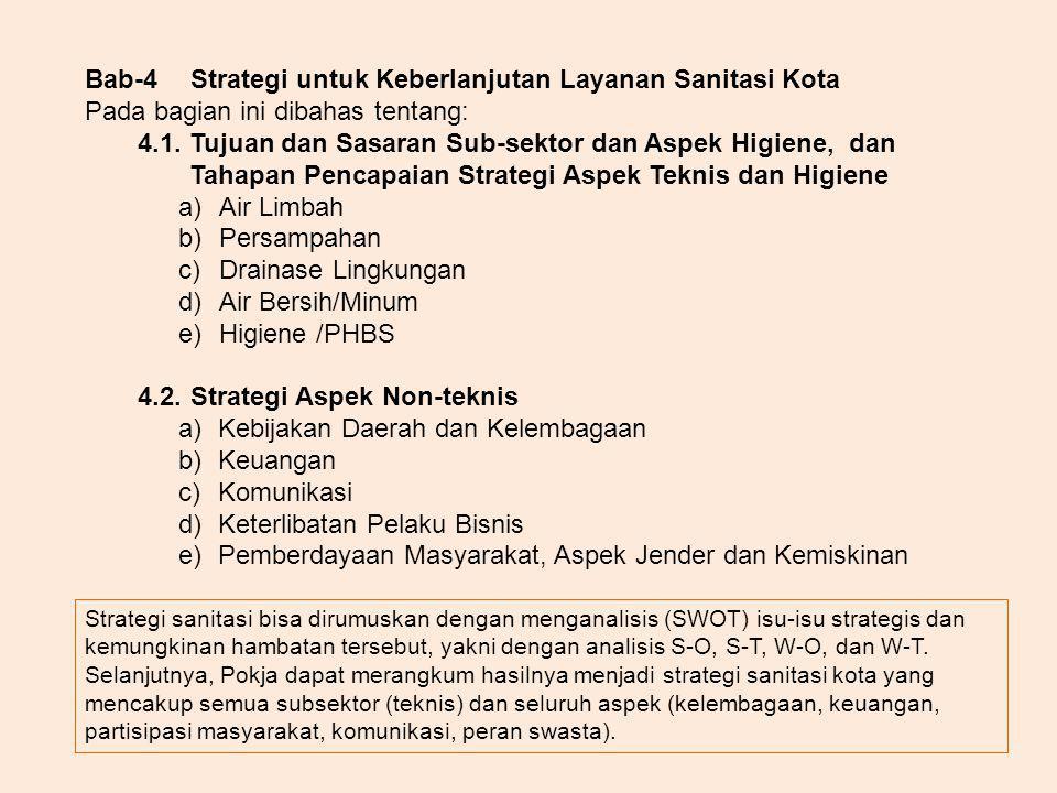 Bab-4Strategi untuk Keberlanjutan Layanan Sanitasi Kota Pada bagian ini dibahas tentang: 4.1. Tujuan dan Sasaran Sub-sektor dan Aspek Higiene, dan Tah