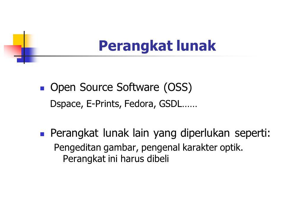 Perangkat lunak Open Source Software (OSS) Dspace, E-Prints, Fedora, GSDL…… Perangkat lunak lain yang diperlukan seperti: Pengeditan gambar, pengenal