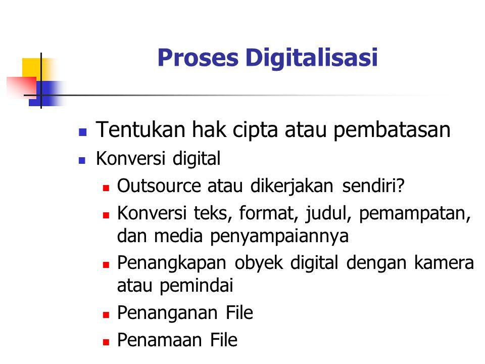 Proses Digitalisasi Tentukan hak cipta atau pembatasan Konversi digital Outsource atau dikerjakan sendiri? Konversi teks, format, judul, pemampatan, d