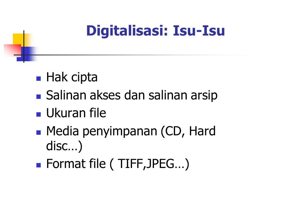 Digitalisasi: Isu-Isu Hak cipta Salinan akses dan salinan arsip Ukuran file Media penyimpanan (CD, Hard disc…) Format file ( TIFF,JPEG…)
