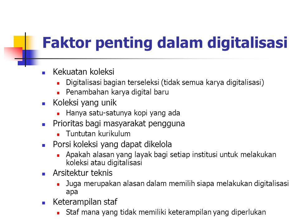 Faktor penting dalam digitalisasi Kekuatan koleksi Digitalisasi bagian terseleksi (tidak semua karya digitalisasi) Penambahan karya digital baru Kolek