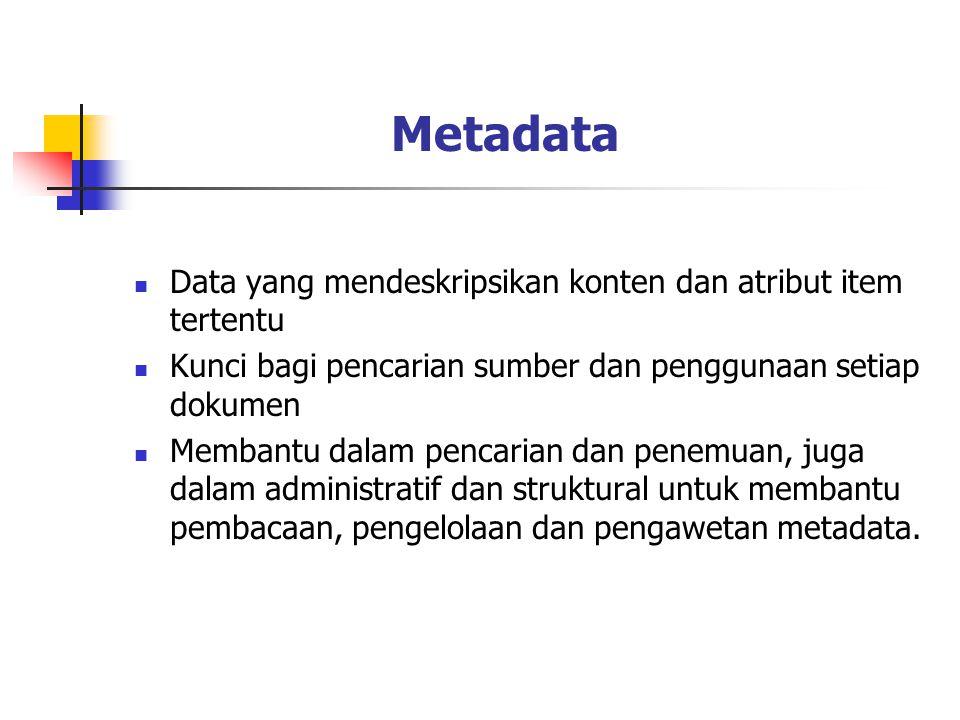 Metadata Data yang mendeskripsikan konten dan atribut item tertentu Kunci bagi pencarian sumber dan penggunaan setiap dokumen Membantu dalam pencarian