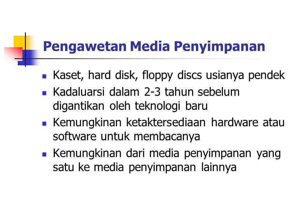 Pengawetan Media Penyimpanan Kaset, hard disk, floppy discs usianya pendek Kadaluarsi dalam 2-3 tahun sebelum digantikan oleh teknologi baru Kemungkin