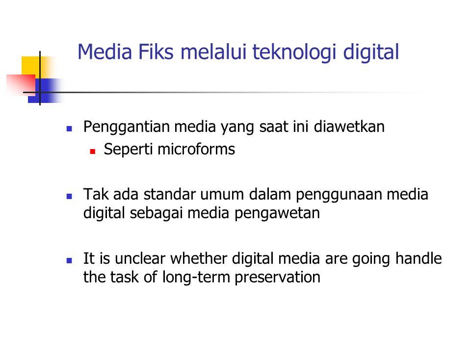 Media Fiks melalui teknologi digital Penggantian media yang saat ini diawetkan Seperti microforms Tak ada standar umum dalam penggunaan media digital
