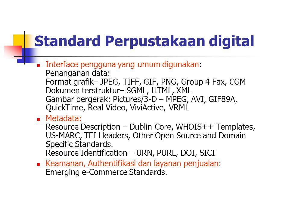Standard Perpustakaan digital Interface pengguna yang umum digunakan: Penanganan data: Format grafik– JPEG, TIFF, GIF, PNG, Group 4 Fax, CGM Dokumen t