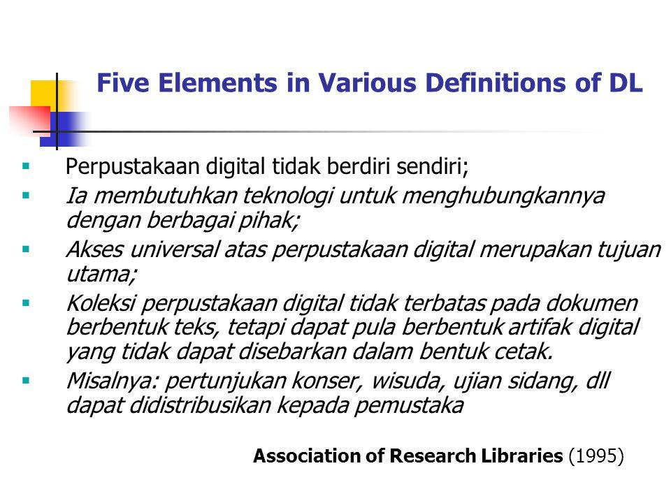 Tujuan Perpustakaan Digital Memusatkan diri pada teknologi digitalisasi, skema metadata, teknik pengelolaan data, dan pengawetan digital.