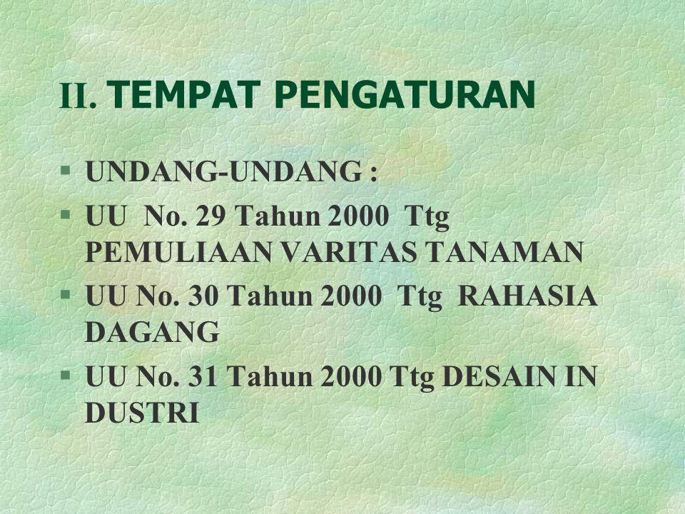 II.TEMPAT PENGATURAN §UNDANG-UNDANG : §UU No. 29 Tahun 2000 Ttg PEMULIAAN VARITAS TANAMAN §UU No.