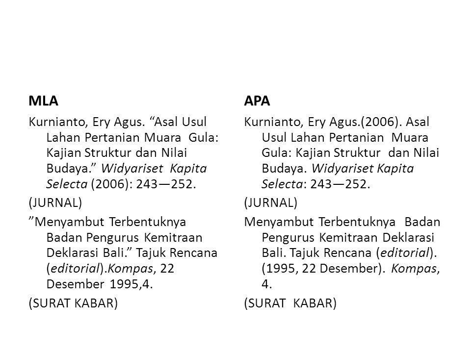 """MLA Kurnianto, Ery Agus. """"Asal Usul Lahan Pertanian Muara Gula: Kajian Struktur dan Nilai Budaya."""" Widyariset Kapita Selecta (2006): 243—252. (JURNAL)"""