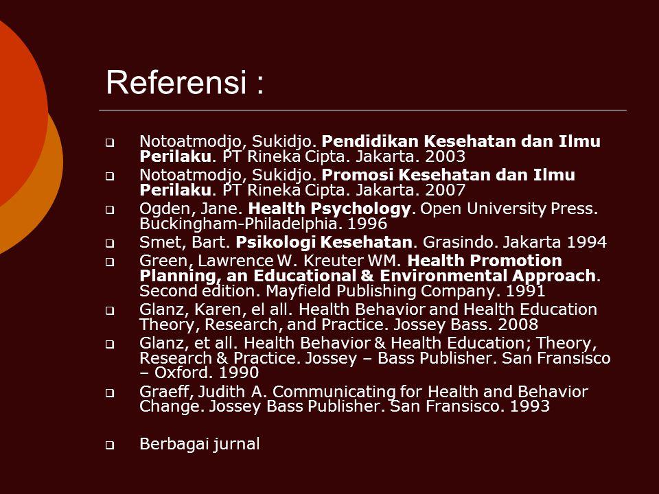 Referensi :  Notoatmodjo, Sukidjo. Pendidikan Kesehatan dan Ilmu Perilaku. PT Rineka Cipta. Jakarta. 2003  Notoatmodjo, Sukidjo. Promosi Kesehatan d