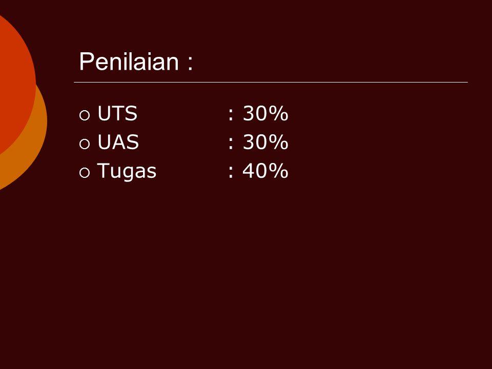 Penilaian :  UTS: 30%  UAS: 30%  Tugas: 40%