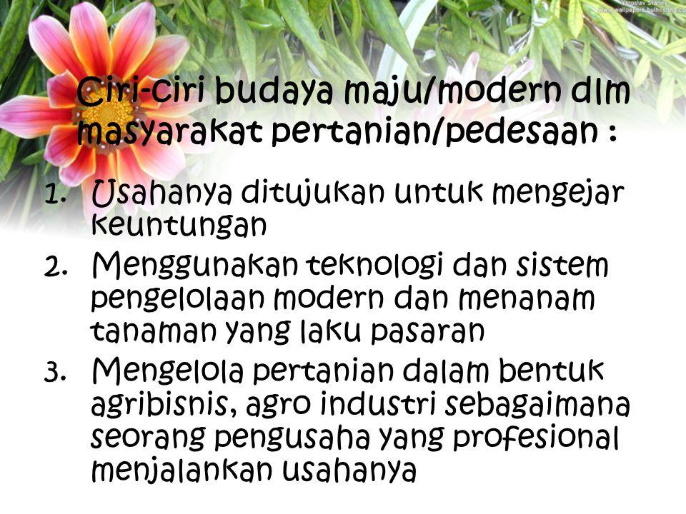 Ciri-ciri budaya maju/modern dlm masyarakat pertanian/pedesaan : 1.Usahanya ditujukan untuk mengejar keuntungan 2.Menggunakan teknologi dan sistem pen