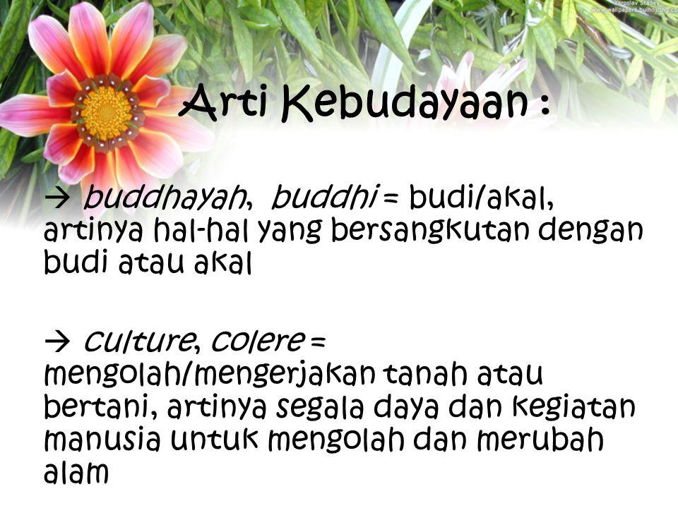 Arti Kebudayaan :  buddhayah, buddhi = budi/akal, artinya hal-hal yang bersangkutan dengan budi atau akal  culture, colere = mengolah/mengerjakan ta
