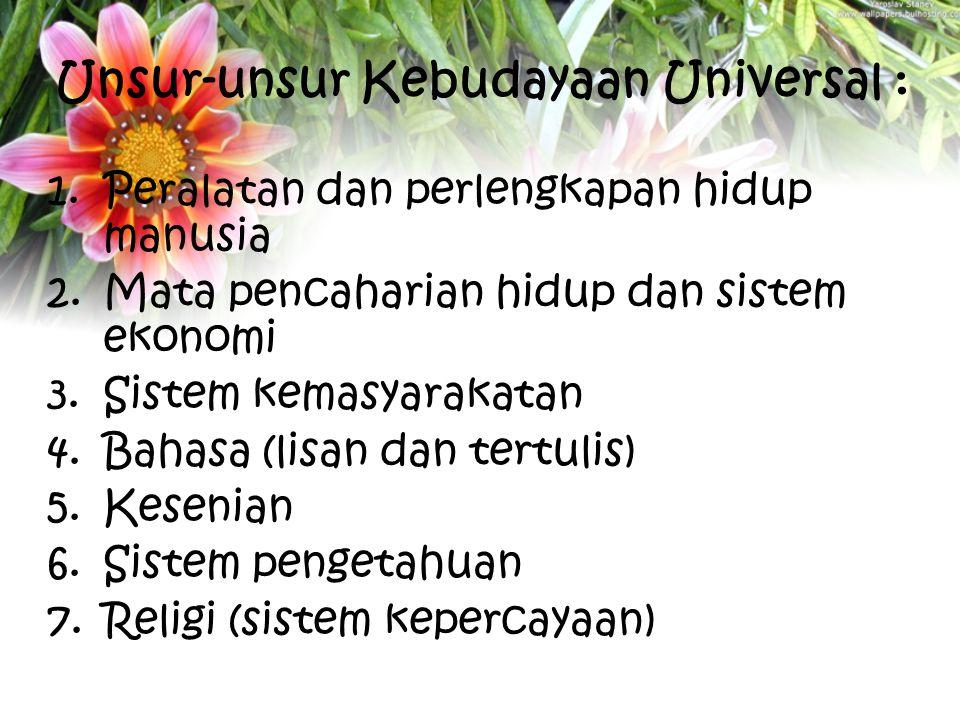 Unsur-unsur Kebudayaan Universal : 1.Peralatan dan perlengkapan hidup manusia 2.Mata pencaharian hidup dan sistem ekonomi 3.Sistem kemasyarakatan 4.Ba