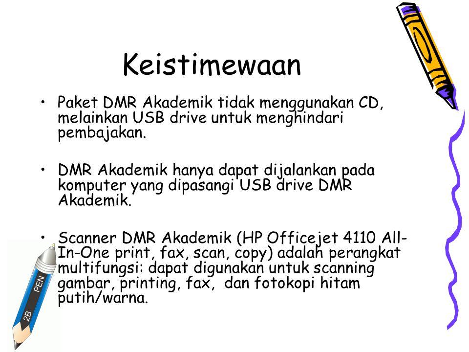 Keistimewaan Paket DMR Akademik tidak menggunakan CD, melainkan USB drive untuk menghindari pembajakan.