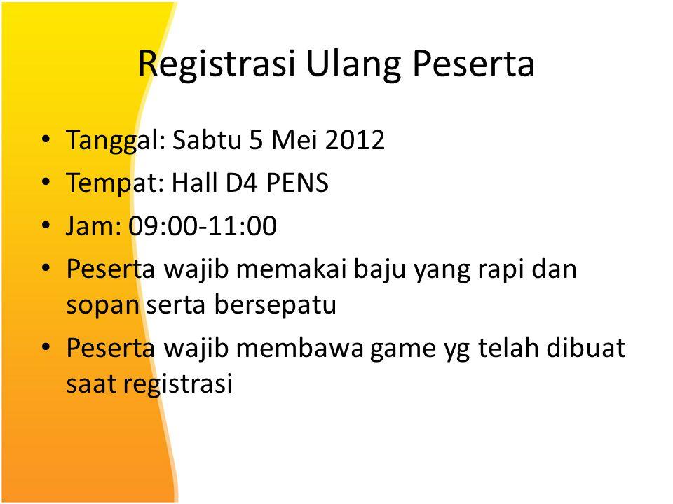 Registrasi Ulang Peserta Tanggal: Sabtu 5 Mei 2012 Tempat: Hall D4 PENS Jam: 09:00-11:00 Peserta wajib memakai baju yang rapi dan sopan serta bersepat