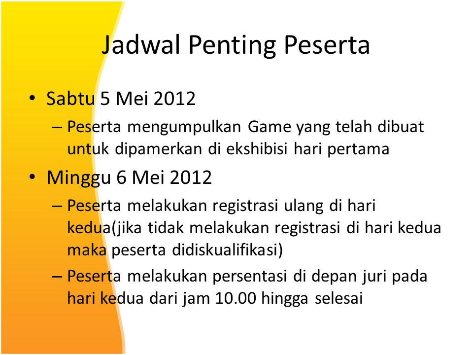 Jadwal Penting Peserta Sabtu 5 Mei 2012 – Peserta mengumpulkan Game yang telah dibuat untuk dipamerkan di ekshibisi hari pertama Minggu 6 Mei 2012 – P