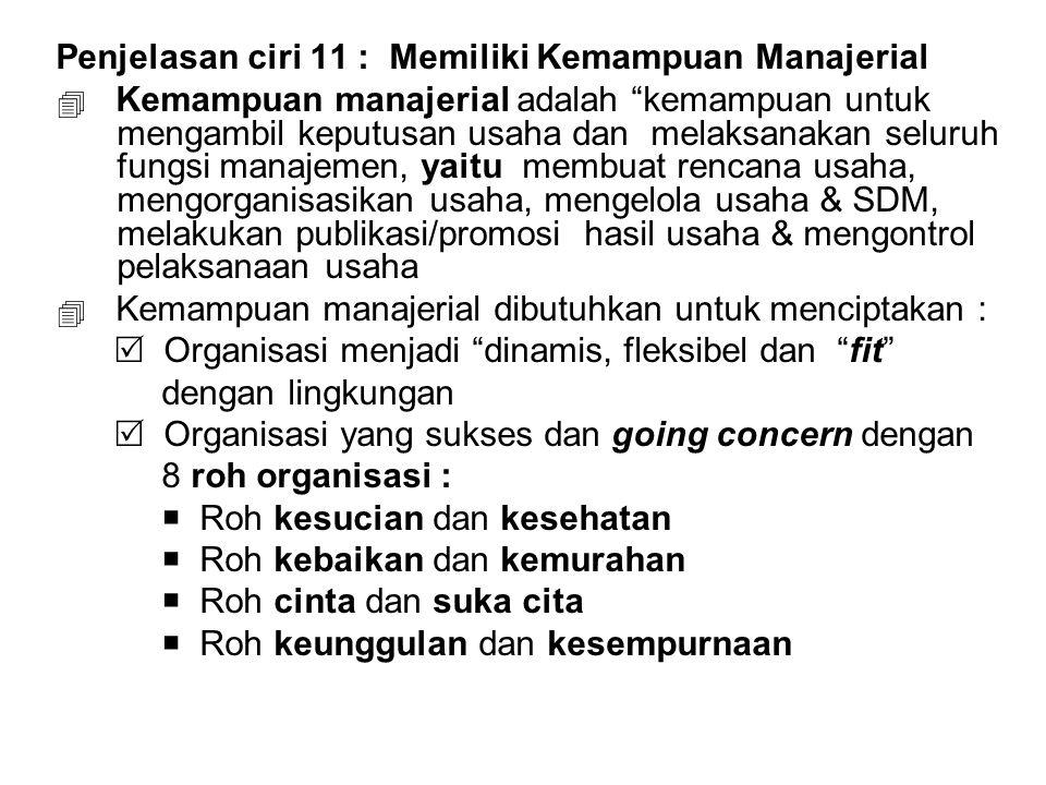 "Penjelasan ciri 11 : Memiliki Kemampuan Manajerial  Kemampuan manajerial adalah ""kemampuan untuk mengambil keputusan usaha dan melaksanakan seluruh f"