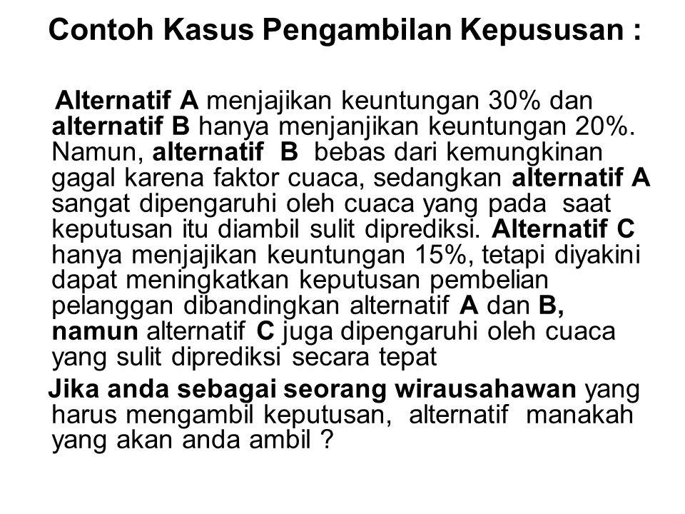 Contoh Kasus Pengambilan Kepususan : Alternatif A menjajikan keuntungan 30% dan alternatif B hanya menjanjikan keuntungan 20%. Namun, alternatif B beb