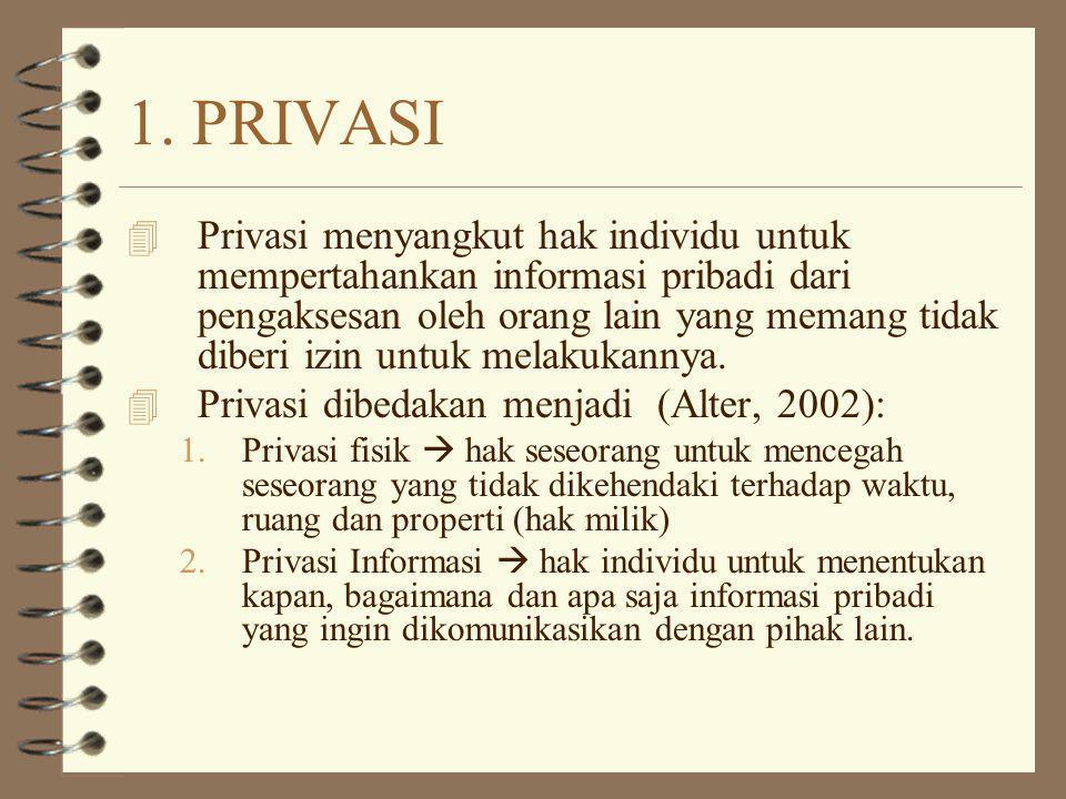 1. PRIVASI 4 Privasi menyangkut hak individu untuk mempertahankan informasi pribadi dari pengaksesan oleh orang lain yang memang tidak diberi izin unt