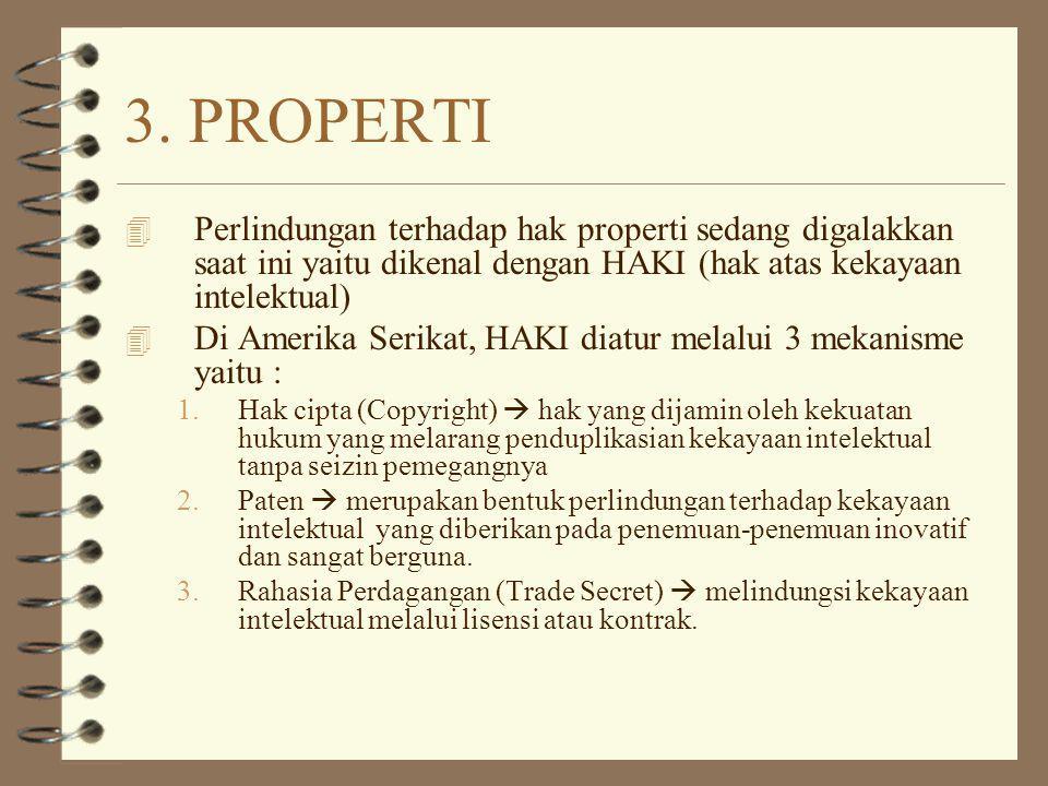 3. PROPERTI 4 Perlindungan terhadap hak properti sedang digalakkan saat ini yaitu dikenal dengan HAKI (hak atas kekayaan intelektual) 4 Di Amerika Ser
