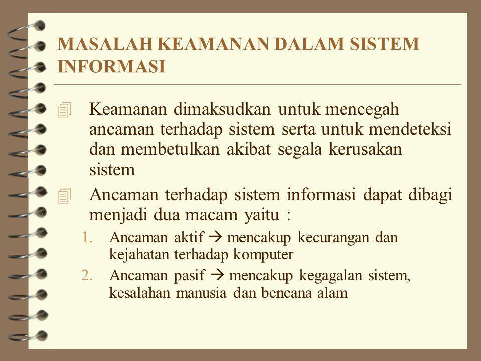 MASALAH KEAMANAN DALAM SISTEM INFORMASI 4 Keamanan dimaksudkan untuk mencegah ancaman terhadap sistem serta untuk mendeteksi dan membetulkan akibat se