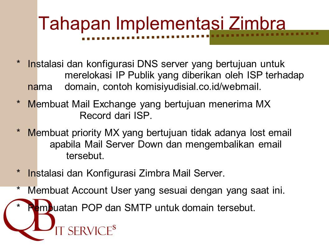 Tahapan Implementasi Zimbra *Instalasi dan konfigurasi DNS server yang bertujuan untuk merelokasi IP Publik yang diberikan oleh ISP terhadap nama domain, contoh komisiyudisial.co.id/webmail.