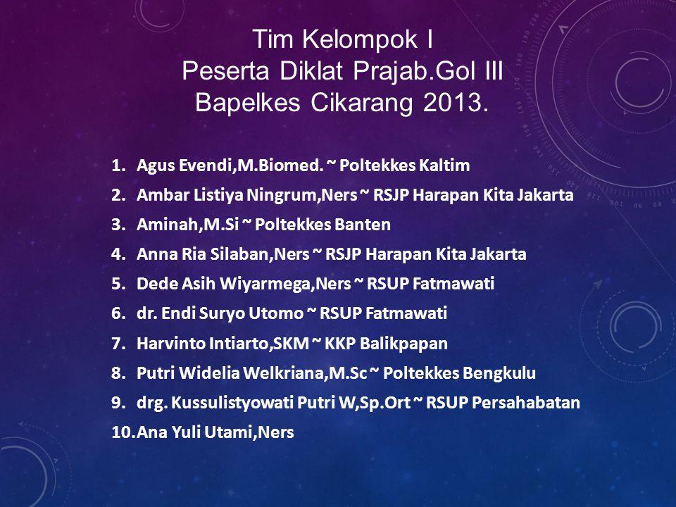 Tim Kelompok I Peserta Diklat Prajab.Gol III Bapelkes Cikarang 2013.